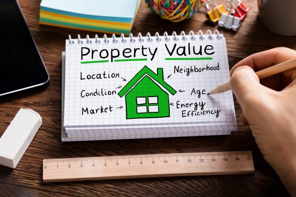 person hand working on property value concept